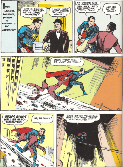 "Image from ""Action Comics"" #1 written by Siegel and illustrated by Shuster."