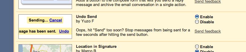 Enable Gmail Undo Send