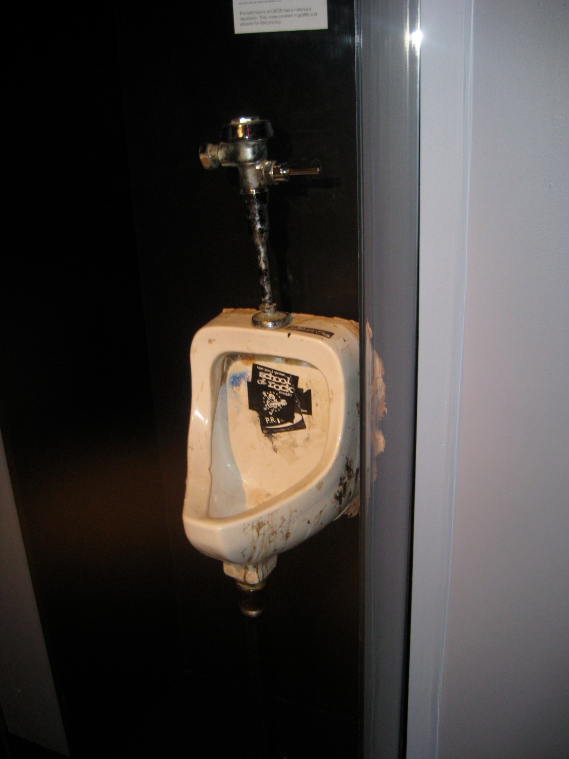 An actual urinal from CBGB (Envy me for seeing this artifact)