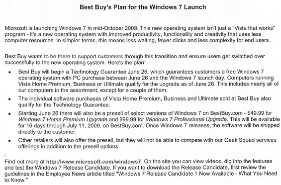 Best Buy Windows 7 Memo