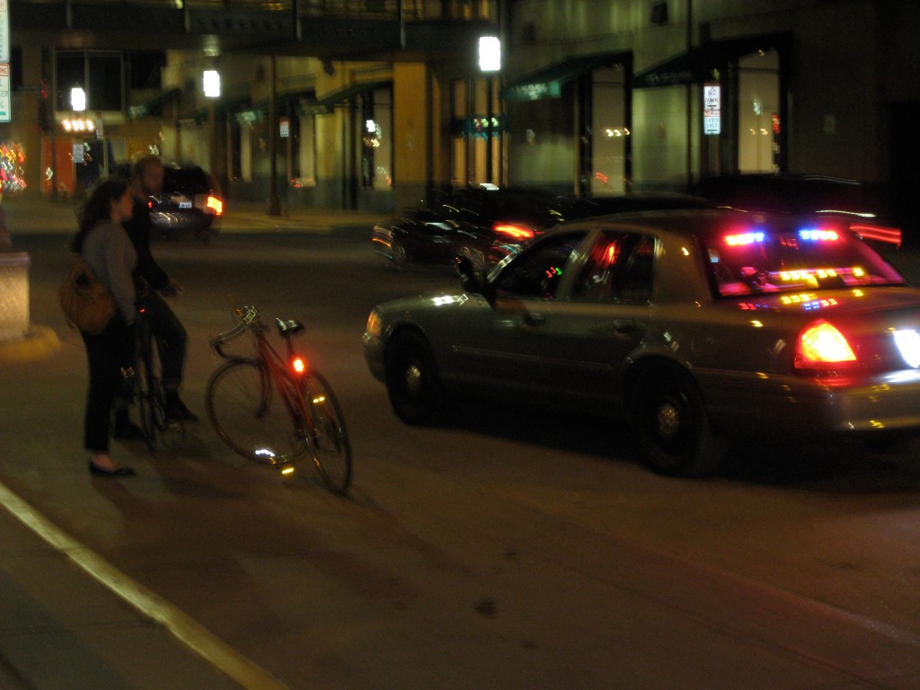 I actually saw these cyclists get pulled over in Minneapolis. I thought it was hilarious.