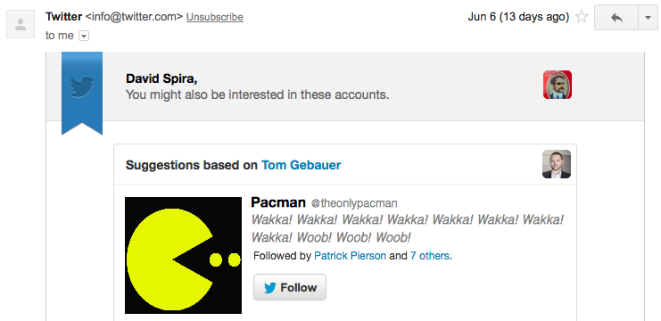 Twitter Suggests Pacman