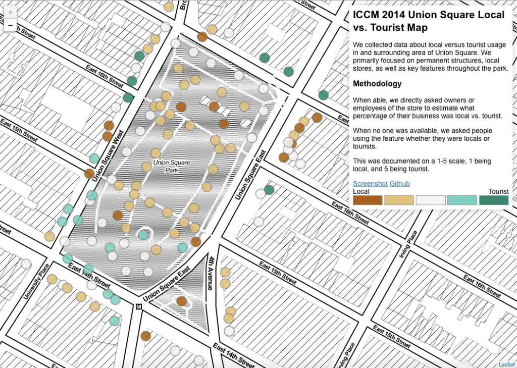 ICCM 2014 Union Square Local vs Tourist Map